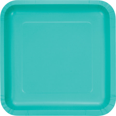 "Teal Bulk Party Square Paper Dinner Plates 9"" (180/Case)-Solid Color Party Tableware-Creative Converting-180-"