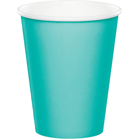 Teal Bulk Party Hot/Cold Paper Cups 9 oz. (240/Case)-Solid Color Party Tableware-Creative Converting-240-