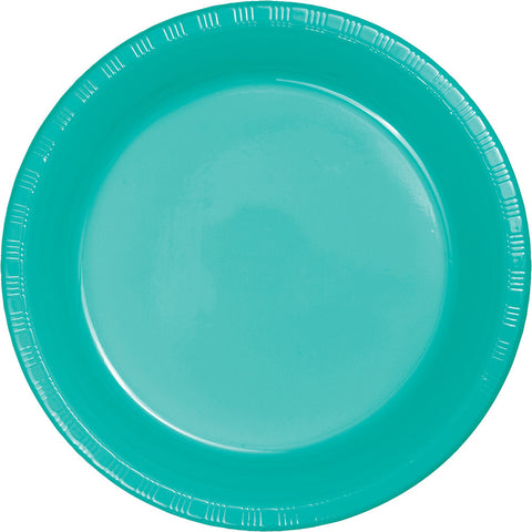 "Teal Bulk Party Plastic Lunch Plates 7"" (240/Case)-Solid Color Party Tableware-Creative Converting-240-"