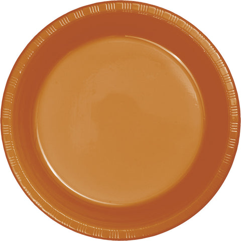 "Pumpkin Spice Orange Bulk Party Plastic Lunch Plates 7"" (240/Case)-Solid Color Party Tableware-Creative Converting-240-"