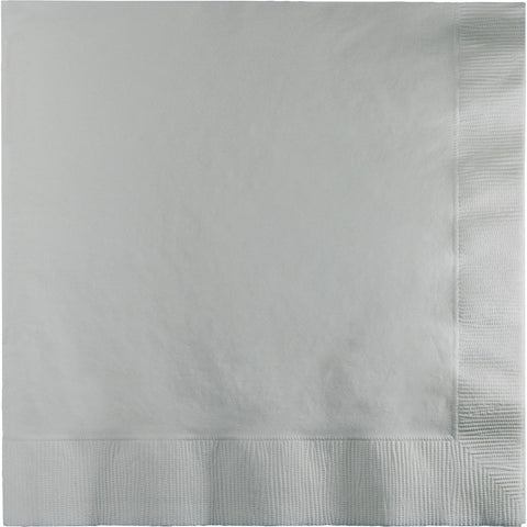 Silver Bulk Party 2 Ply Lunch Napkins (900/Case)-Solid Color Party Tableware-Creative Converting-900-