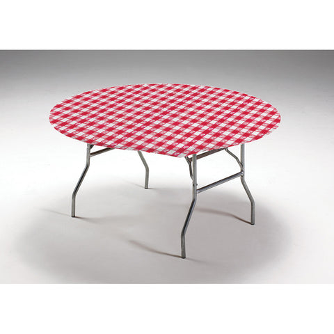 Red Gingham Disposable Catering Round Tablecovers Stay Put, 60""