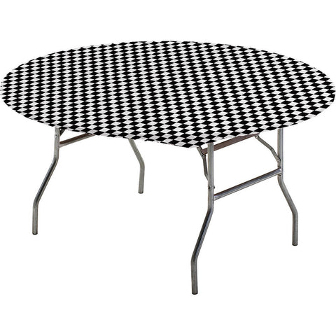 Black Checkered Disposable Catering Round Tablecovers Stay Put, 60""