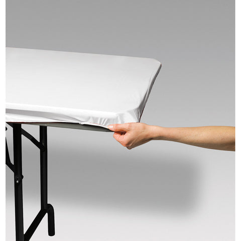 "White Disposable Catering Rectangle Tablecovers Stay Put, 30"" x 96"""