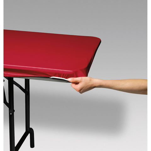 "Red Disposable Catering Rectangle Tablecovers Stay Put, 30"" x 96"""