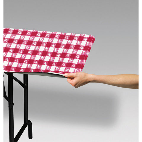 "Red Gingham Disposable Catering Rectangle Tablecovers Stay Put, 30"" x 96"""