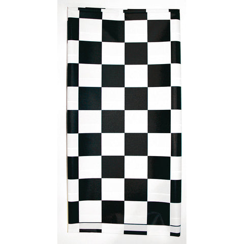 "Black Checkered Disposable Catering Rectangle Tablecovers Stay Put, 30"" x 96"""
