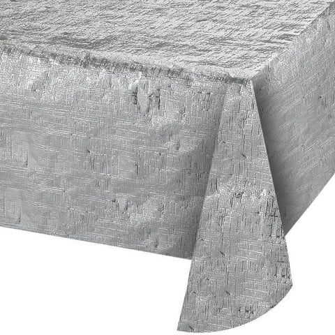 "Metallic Silver Bulk Party Rectangle Tablecovers, 54""x108"""