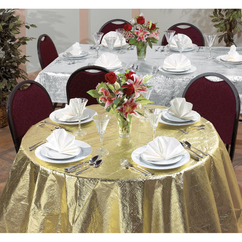 "Metallic Silver Bulk Party Rectangle Tablecovers, 54""x108""-Solid Color Party Tableware-Creative Converting-12-"
