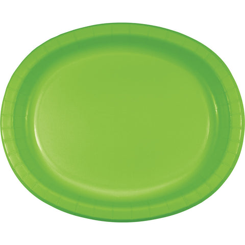 "Lime Green Bulk Party Oval Paper Plates 10"" x 12"" (96/Case)-Solid Color Party Tableware-Creative Converting-96-"