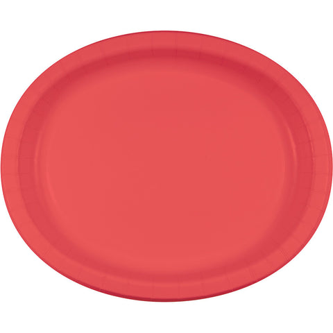 "Coral Bulk Party Oval Paper Plates 10"" x 12"" (96/Case)-Solid Color Party Tableware-Creative Converting-96-"