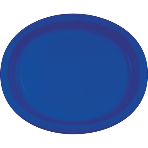 "Cobalt Blue Bulk Party Oval Paper Plates 10"" x 12"" (96/Case)-Solid Color Party Tableware-Creative Converting-96-"