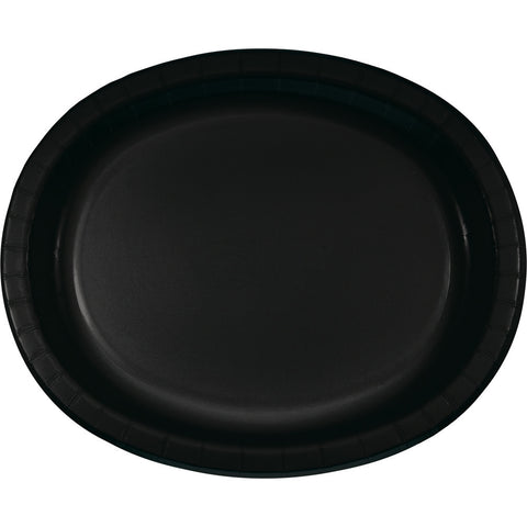 "Black Bulk Party Oval Paper Plates 10"" x 12"" (96/Case)-Solid Color Party Tableware-Creative Converting-96-"
