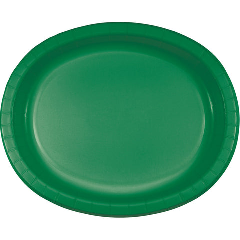 "Emerald Green Bulk Party Oval Paper Plates 10"" x 12"" (96/Case)-Solid Color Party Tableware-Creative Converting-96-"