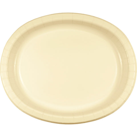 "Ivory Bulk Party Oval Paper Plates 10"" x 12"" (96/Case)-Solid Color Party Tableware-Creative Converting-96-"