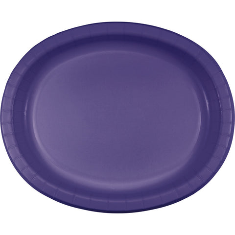 "Purple Bulk Party Oval Paper Plates 10"" x 12"" (96/Case)-Solid Color Party Tableware-Creative Converting-96-"