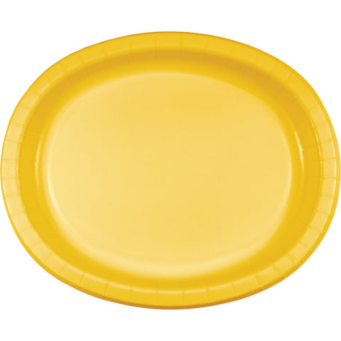 "School Bus Yellow Bulk Party Oval Paper Plates 10"" x 12"" (96/Case)-Solid Color Party Tableware-Creative Converting-96-"