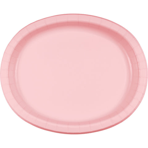 "Pink Bulk Party Oval Paper Plates 10"" x 12"" (96/Case)-Solid Color Party Tableware-Creative Converting-96-"