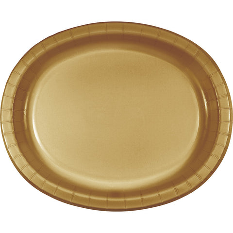 "Gold Bulk Party Oval Paper Plates 10"" x 12"" (96/Case)-Solid Color Party Tableware-Creative Converting-96-"