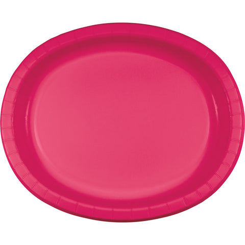 "Hot Magenta Pink Bulk Party Oval Paper Plates 10"" x 12"" (96/Case)-Solid Color Party Tableware-Creative Converting-96-"