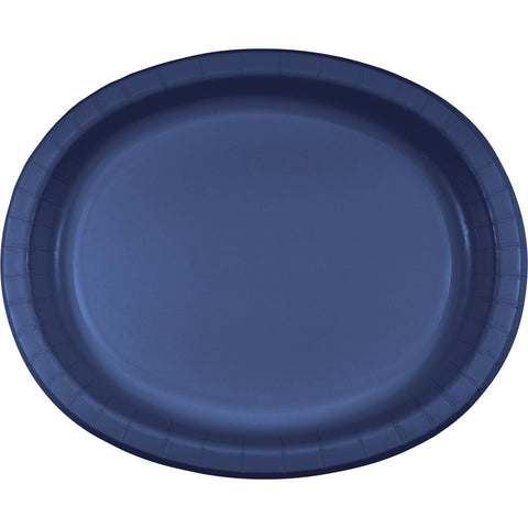 "Navy Blue Bulk Party Oval Paper Plates 10"" x 12"" (96/Case)"