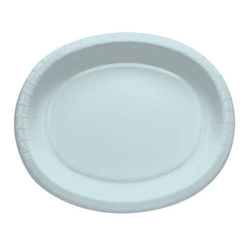 "Baby Blue Bulk Party Oval Paper Plates 10"" x 12"" (96/Case)"