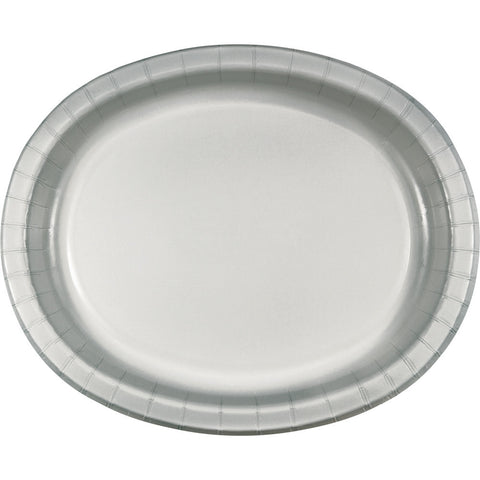 "Silver Bulk Party Oval Paper Plates 10"" x 12"" (96/Case)-Solid Color Party Tableware-Creative Converting-96-"