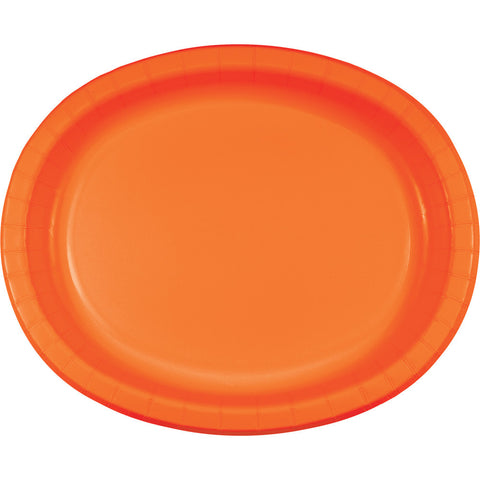 "Orange Bulk Party Oval Paper Plates 10"" x 12"" (96/Case)-Solid Color Party Tableware-Creative Converting-96-"