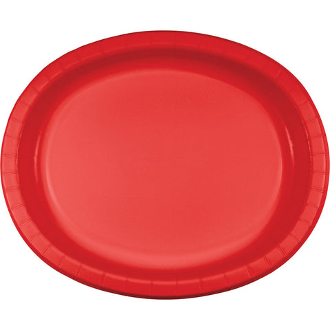 "Red Bulk Party Oval Paper Plates 10"" x 12"" (96/Case)-Solid Color Party Tableware-Creative Converting-96-"