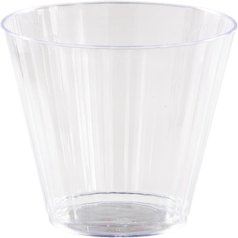 Clear Disposable Catering Fluted Tumblers Case 9 oz