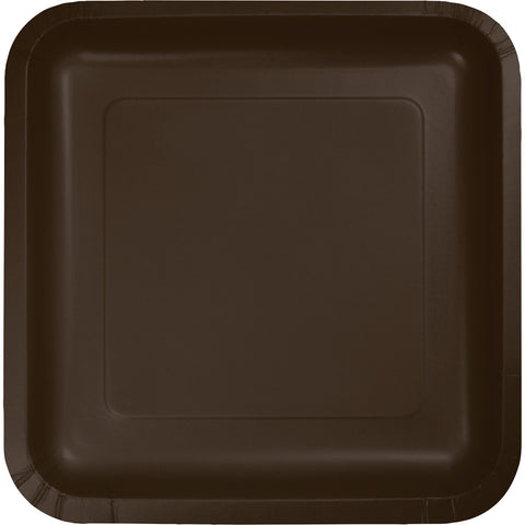 "Brown Bulk Party Square Paper Lunch Plates 7"" (180/Case)-Solid Color Party Tableware-Creative Converting-180-"
