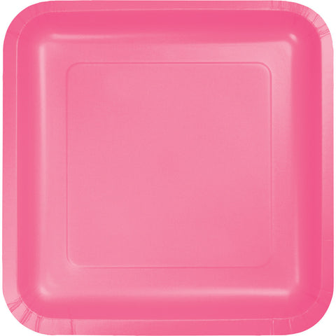 "Candy Pink Bulk Party Square Paper Lunch Plates 7"" (180/Case)-Solid Color Party Tableware-Creative Converting-180-"