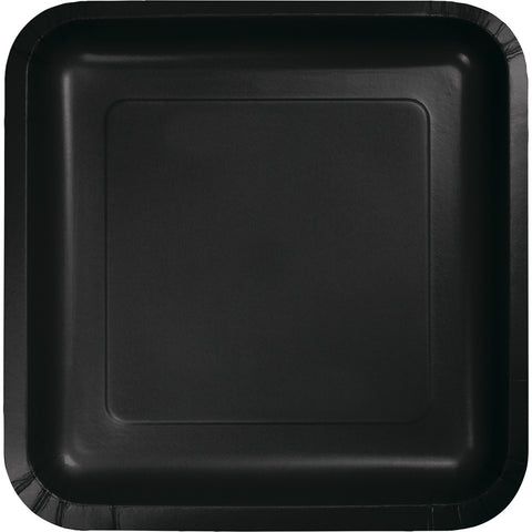 "Black Bulk Party Square Paper Lunch Plates 7"" (180/Case)-Solid Color Party Tableware-Creative Converting-180-"