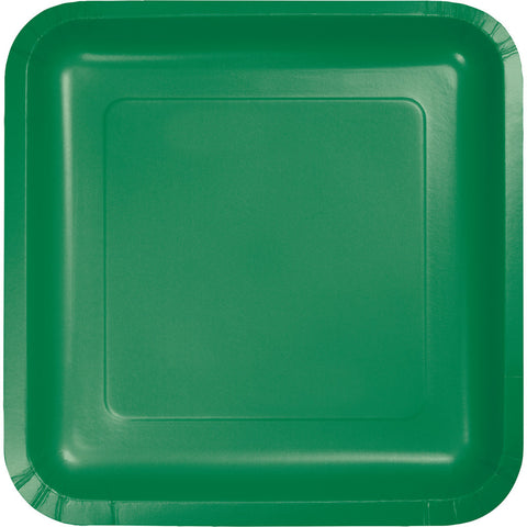"Emerald Green Bulk Party Square Paper Lunch Plates 7"" (180/Case)-Solid Color Party Tableware-Creative Converting-180-"