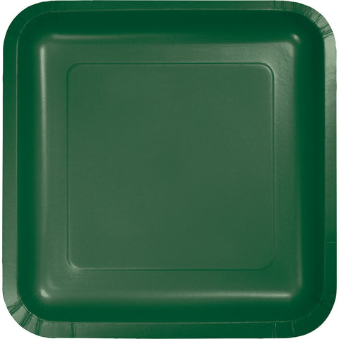 "Hunter Green Bulk Party Square Paper Lunch Plates 7"" (180/Case)-Solid Color Party Tableware-Creative Converting-180-"