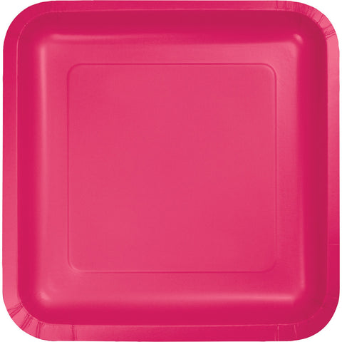 "Hot Magenta Pink Bulk Party Square Paper Lunch Plates 7"" (180/Case)-Solid Color Party Tableware-Creative Converting-180-"