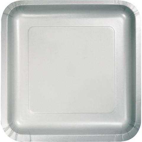 "Silver Bulk Party Square Paper Lunch Plates 7"" (180/Case)-Solid Color Party Tableware-Creative Converting-180-"