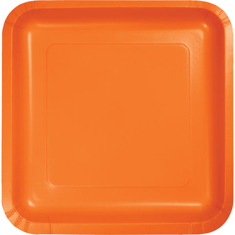 "Orange Bulk Party Square Paper Lunch Plates 7"" (180/Case)-Solid Color Party Tableware-Creative Converting-180-"