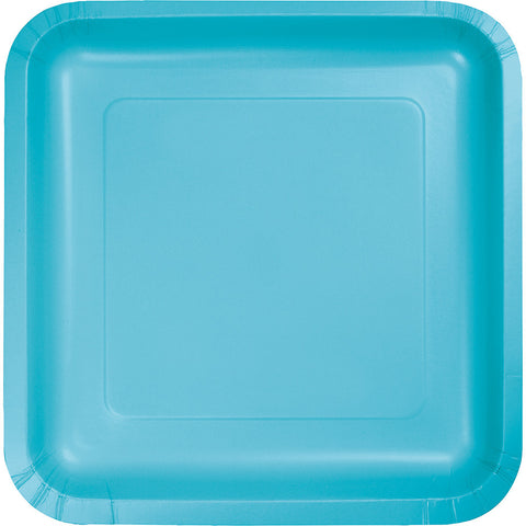 "Bermuda Blue Bulk Party Square Paper Lunch Plates 7"" (180/Case)-Solid Color Party Tableware-Creative Converting-180-"