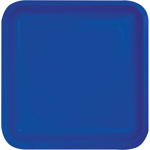 "Cobalt Blue Bulk Party Square Paper Lunch Plates 7"" (180/Case)-Solid Color Party Tableware-Creative Converting-180-"