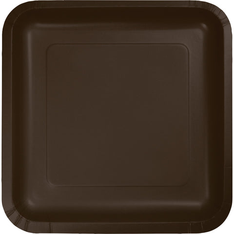 "Brown Bulk Party Square Paper Dinner Plates 9"" (180/Case)-Solid Color Party Tableware-Creative Converting-180-"