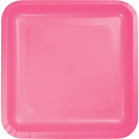 "Candy Pink Bulk Party Square Paper Dinner Plates 9"" (180/Case)"