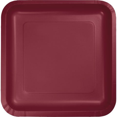 "Burgundy Bulk Party Square Paper Dinner Plates 9"" (180/Case)-Solid Color Party Tableware-Creative Converting-180-"