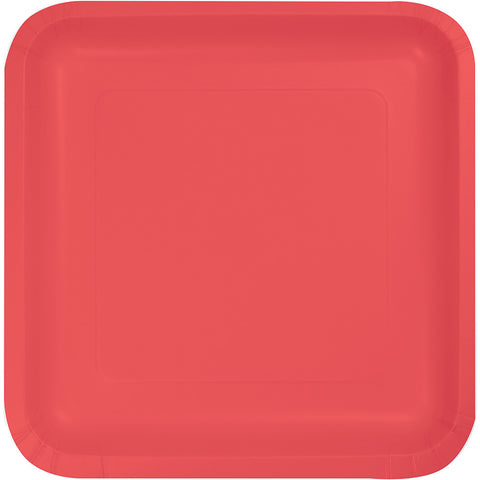 "Coral Bulk Party Square Paper Dinner Plates 9"" (180/Case)-Solid Color Party Tableware-Creative Converting-180-"