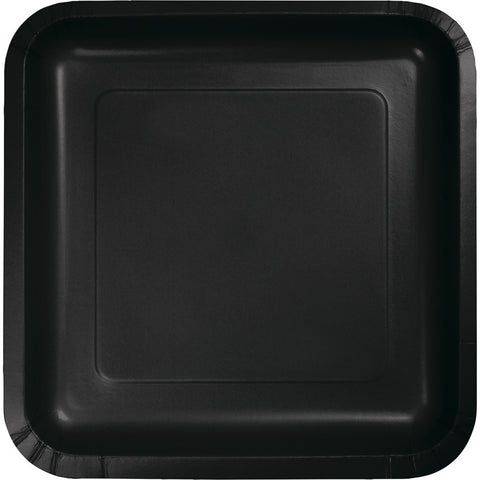 "Black Bulk Party Square Paper Dinner Plates 9"" (180/Case)-Solid Color Party Tableware-Creative Converting-180-"