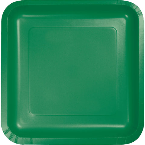 "Emerald Green Bulk Party Square Paper Dinner Plates 9"" (180/Case)-Solid Color Party Tableware-Creative Converting-180-"