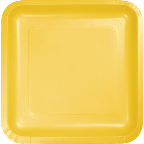 "School Bus Yellow Bulk Party Square Paper Dinner Plates 9"" (180/Case)-Solid Color Party Tableware-Creative Converting-180-"
