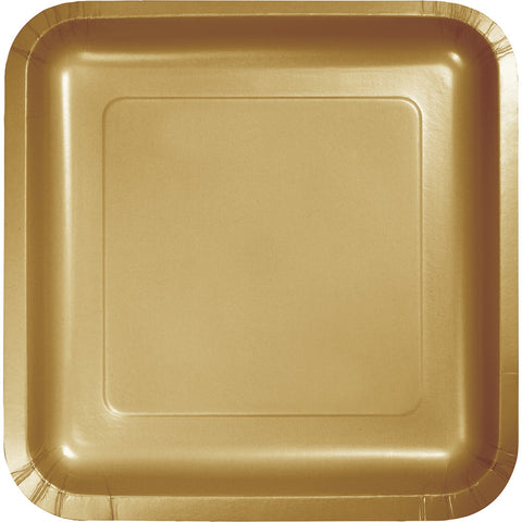 "Gold Bulk Party Square Paper Lunch Plates 7"" (180/Case)-Solid Color Party Tableware-Creative Converting-180-"