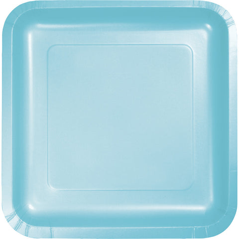 "Baby Blue Bulk Party Square Paper Dinner Plates 9"" (180/Case)"