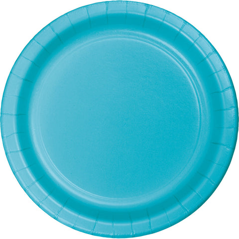 "Bermuda Blue Bulk Party Dinner Paper Plates 9"" (240/Case)-Solid Color Party Tableware-Creative Converting-240-"